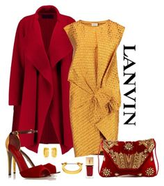 """Lanvin Gathered Matelasse Dress Look"" by romaboots-1 ❤ liked on Polyvore featuring MM6 Maison Margiela, West Coast Jewelry, Lanvin, Donna Karan, Yves Saint Laurent, Sergio Rossi and Ricki Designs"