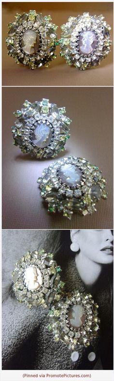 HOBÉ Carved Cameo Abalone Earrings, Gray Rhinestones, Vintage #earrings #Hobe #cameo #carved #abalone #clipon #vintage #rhinestones #gray #designer #MOP #motherofpearl https://www.etsy.com/RenaissanceFair/listing/532576161/hobe-carved-cameo-abalone-earrings-gray?ref=listings_manager_grid  (Pinned using https://PromotePictures.com)