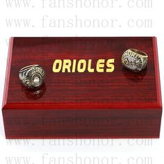 Baltimore Orioles MLB Championship Rings Set Wooden Display Box Collections - Baseball