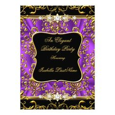 Elegant Purple Damask Black Gold Birthday Party Card