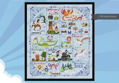 Magical Creatures Calendar sampler - PDF cross stitch pattern. This is awesome!  And my birthday month, March, is the phoenix, my favorite!