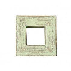 Cornice cubo in legno verde shabby