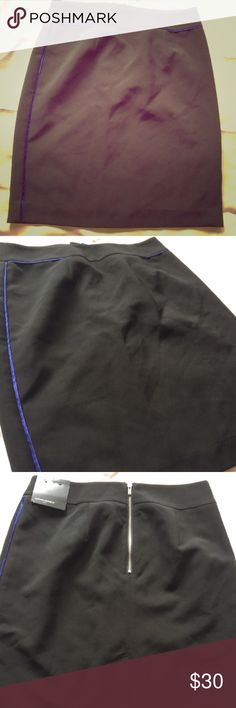 FLASH EASTER SALE!BNWT Banana Republic PencilSkirt Beautiful pencil skirt with royal blue piping along the seams. Zips in the back, and hits above knee. Sleek, professional, and sexy. Banana Republic Skirts Pencil