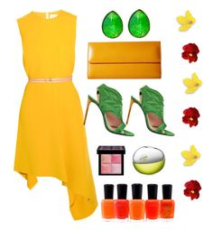 Designer Clothes, Shoes & Bags for Women Roland Mouret, Victoria Beckham, Givenchy, Summer Dresses, Yellow, Green, Polyvore, Stuff To Buy, Shopping