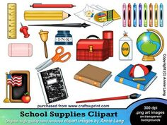 school supplies clip art back to school graphics stationery rh pinterest com cleaning supplies clipart school supplies clipart border