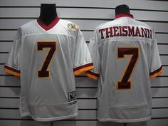 MITCHELL AND NESS REDSKINS #7 JOE THEISMANN WHITE WITH 50TH ANNIVERSARY STITCHED NFL JERSEY