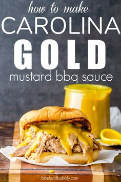 Carolina Gold Mustard BBQ Sauce- The BEST mustard based mostly barbecue sauce re. Homemade Bbq Sauce Recipe, Barbecue Sauce Recipes, Pulled Pork Recipes, Pulled Pork Sauce Recipe, Grilling Recipes, Bbq Sauces, Brisket Sauce Recipe, Spicy Barbecue Sauce Recipe, Best Barbecue Sauce