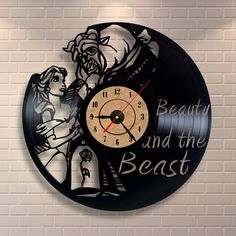 Amazing clock  Etsy listing at https://www.etsy.com/listing/260969009/beauty-and-the-beast-gifts-vinyl-wall