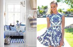 Os azulejos portugueses estão com tudo, na moda e no décor. Veja mais: http://www.casadevalentina.com.br/blog/detalhes/moda-+-decor--porcelain-print--3009  decor #decoracao #interior #design #casa #home #house #idea #ideia #detalhes #details #style #estilo #casadevalentina #moda #fashion #porcelain #porcelana #livingroom #saladeestar