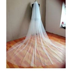 Wedding+Veil+Two-tier+Cathedral+Veils+Cut+Edge+Tulle+White+Ivory+–+AUD+$+32.88