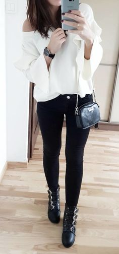 #fall #outfits  women's white blouse and black leggings outfit