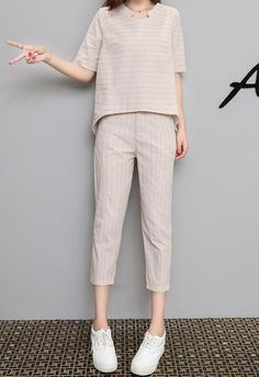 Korean Summer Striped Tops + Pants 2 Piece Set Women Casual Loose Two Piece Set Office Suit Set Womens Tracksuit Plus Size Cropped Hoodie Outfit, Blazers For Women, Pants For Women, Korean Summer, Striped Tops, Bandhani Dress, Summer Stripes, Tracksuit Set, Prom Dresses For Teens