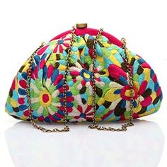 #KUNST Multicolor #clutch. #Beautiful multicolour polyester floral hand embroidered clutch. #BollywoodandFashion