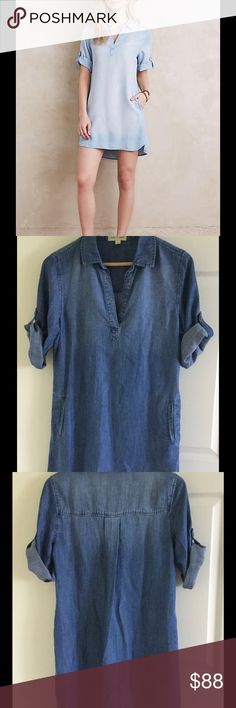 "Washed Chambray Popover by Cloth & Stone NWOT Lyocell Side pockets Pullover Styling Machine wash 33""L Anthropologie Dresses"