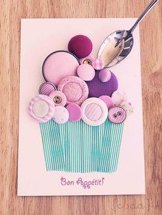 Crea Decora Recicla by All washi tape Washi Tape Cards, Washi Tape Diy, Washi Tapes, Masking Tape, Faire Part Invitation, Button Cupcakes, Cupcake Card, Button Cards, Diy Buttons