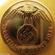 Nazi-German-2-Reichspfennig-1938-Genuine-Coin-Third-Reich-EAGLE-SWASTIKA-RARE