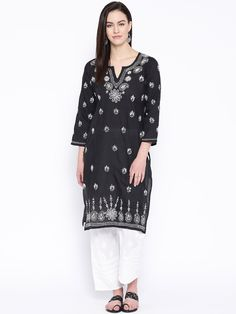 #Ada #handembroidered #Black #Cotton #Lucknowi #Chikankari Kurti - A132588 offers a comfortable and relaxed silhouette to the wearer, the fabric and embroidery is skin friendly #Adachikan #chikankari #handcrafted #chikanstitches #chikanwork #chikan #lakhnavi