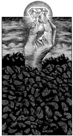 Michael Halbert: Scratchboard illustration depicting the idea of diamond in the ruff.
