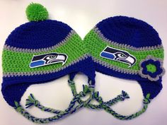 Seattle Seahawks Crochet Hat in Royal Blue from Etsy.... Another Must have!