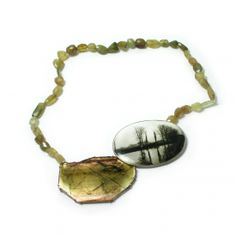 Bettina Speckner - Necklace. Tourmaline, Photo in Enamel, Silver, Stone Chain. www.siennagallery.com.