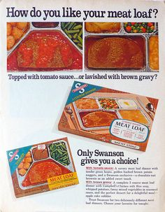 1968 ad Swanson TV Dinner Meat Loaf vintage by ArcaniumAntiques, $12.00