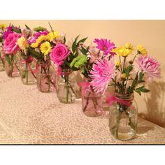 Simple flower arrangements using Mason Jars! By Rachel Herrera