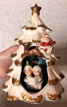 Vintage NAPCO Christmas Tree Planter Santa Sleigh Reindeer Carolers 1950's Japan $23