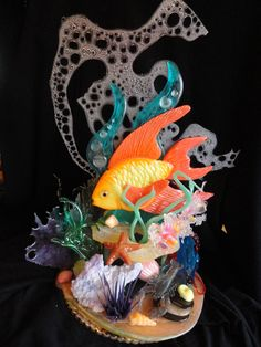Under the Sea Food Sculpture, Sculptures, Blown Sugar Art, Under The Sea 3d, Pulled Sugar Art, Creative Food Art, Creative Design, Kai Arts, Ocean Cakes