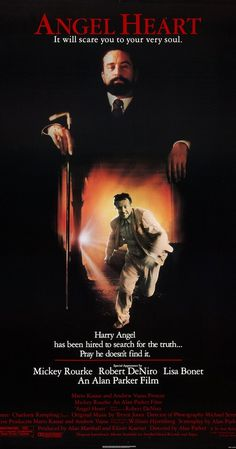 Angel Heart is a 1987 American/British mystery-thriller film written and directed by Alan Parker, and starring Mickey Rourke, Robert De Niro, and Lisa Bonet. Mickey Rourke, Lisa Bonet, Charlotte Rampling, Alan Parker, Heart Poster, Bon Film, Thriller Film, Mystery Thriller, Angel Heart