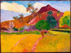 "A print of this painting, ""Tahitian Landscape,"" by Paul Gauguin (1891) hung over the fireplace in my living room throughout my childhood."