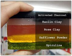 Natural pigments in soaps. Very nice. I love this. I have some activated charcoal, and I've wanted to try spirulina or rose clay.