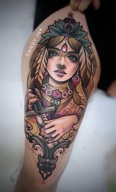 #neo #traditional #portrait #girl #freya #sword #girly #tattoo