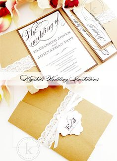 The Elizabeth Suite - Satin Ribbon Pocketfold Lace Wedding Invitations - Krystals Wedding Invitations #weddings #weddinginvitation