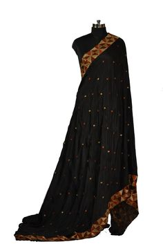 Black Hand Embroidered Phulkari Saree