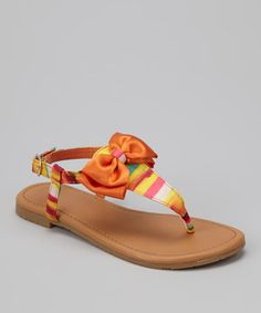 Another great find on #zulily! Orange Bow Ellie T-Strap Sandal #zulilyfinds
