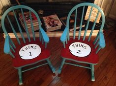 Dr. Seuss, Thing 1 and Thing 2 custom painted Vintage kids rocking chairs