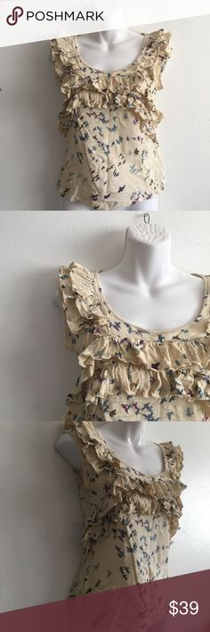 """Anthropologie c.Keer Birds Ruffle Top Bust approx: 16.5"""" Length approx: 22.5"""". With wings you can see the most wonderful things! Size XS C.Keer brand by Anthropologie! Excellent used condition. Anthropologie Tops"""