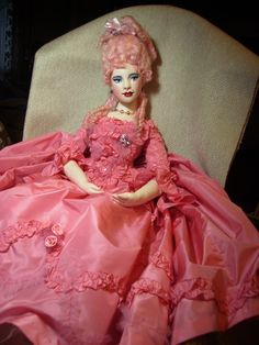 Pompadour Pink Hair Lady  - an original doll by Margie Herrera.