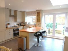 kitchen extension move the boiler to the spot between the window and patio door? Small Open Plan Kitchens, Open Plan Kitchen Diner, Kitchen Diner Extension, Grand Kitchen, Breakfast Bar Kitchen, Kitchen Dinning, Family Kitchen, Kitchen Redo, New Kitchen