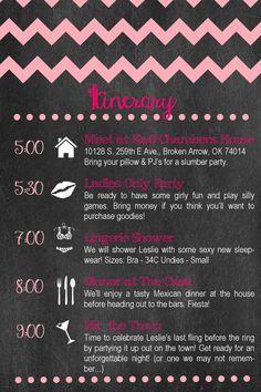 bachelorette party agenda - Google Search