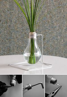 recycled lightbulb vase