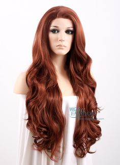 """26"""" Long Wavy Reddish Brown Lace Front Synthetic Wig"""