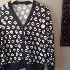 "Skull cardigan So cute. Super comfy cardigan, 19"" across bust flat, 23"" long, 3% spandex. Meant to be a nice boyfriend/grandpa kind of fit. Size small, but depending on how you want to wear it could probably work for medium and large. Some minimal pilling on bottom gray hem pictured- very light Sweaters Cardigans"