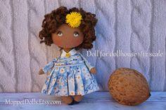 Dollhouse 1/12 scale miniature brown doll, small cloth art cute mini black rag doll, dollhouse accessory