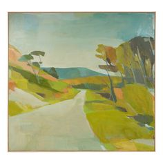 Close to San Gregorio by Karen Smidth-Oil Landscape Artwork, Abstract Landscape, Cool Paintings, Beautiful Paintings, Illustrations, Illustration Art, Collages, Painting Inspiration, Painting & Drawing
