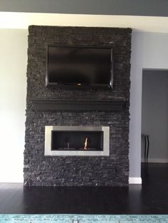 ethanol fireplace with TV
