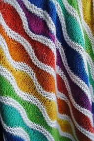Rainbow Blanket - I want to learn how to knit JUST to make this blanket!