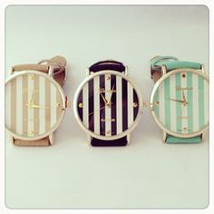 Striped watches in tan, black, and mint! Would I go for a striped watch? Hip Hip, Jewelry Box, Jewelry Accessories, Fashion Accessories, Jewlery, Jewelry Bracelets, Fashion Jewelry, Ring Armband, Wear Watch