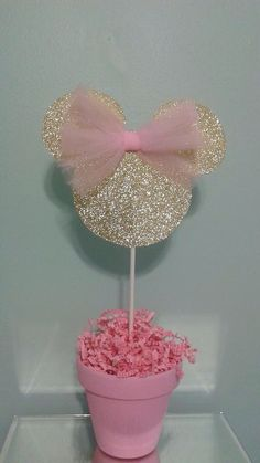 Hey, I found this really awesome Etsy listing at https://www.etsy.com/listing/257033464/minnie-mouse-centerpiece-pink-and-gold