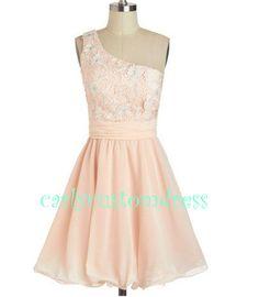 Short Lace Bridesmaid Dress Blush Pink Black by CarlyCustomDress, $89.99